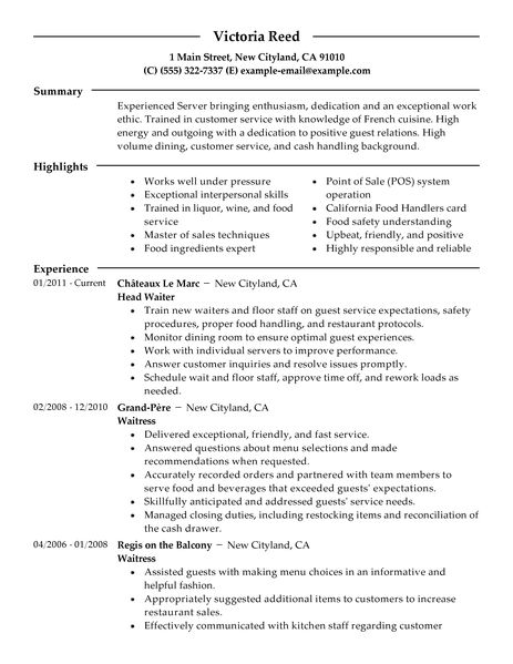 Free Sample Of Bartender Resume. Bartending Resume Sample Free