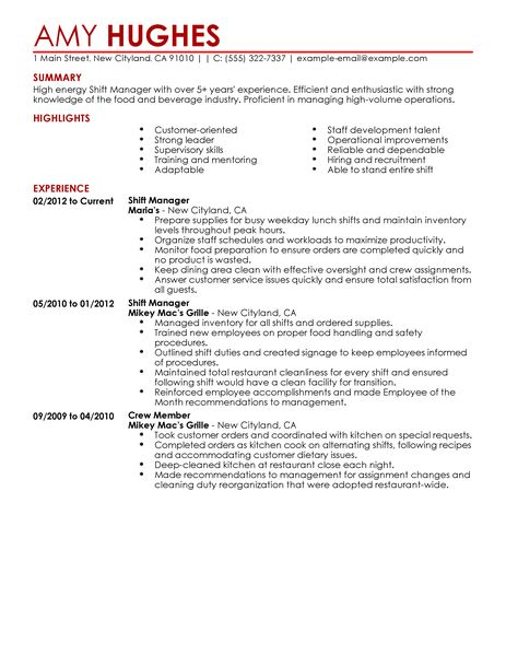 Nice Restaurant Assistant Manager Resume Templates ResumeSamples Net