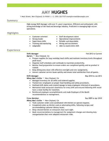 shift manager resume examples food amp restaurant resume examples