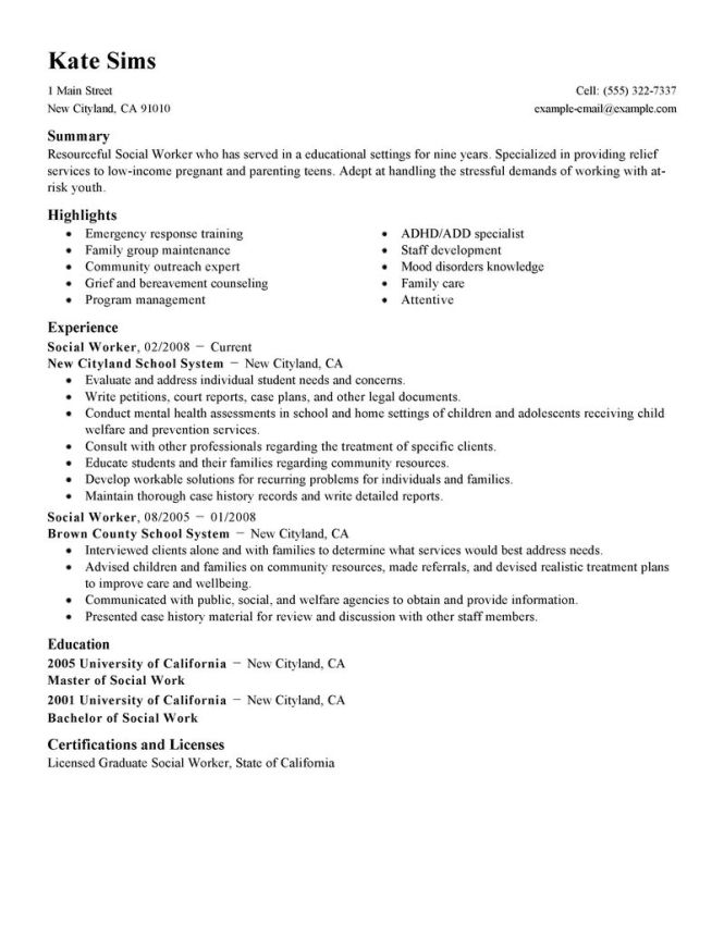 social work resume examples resume sample