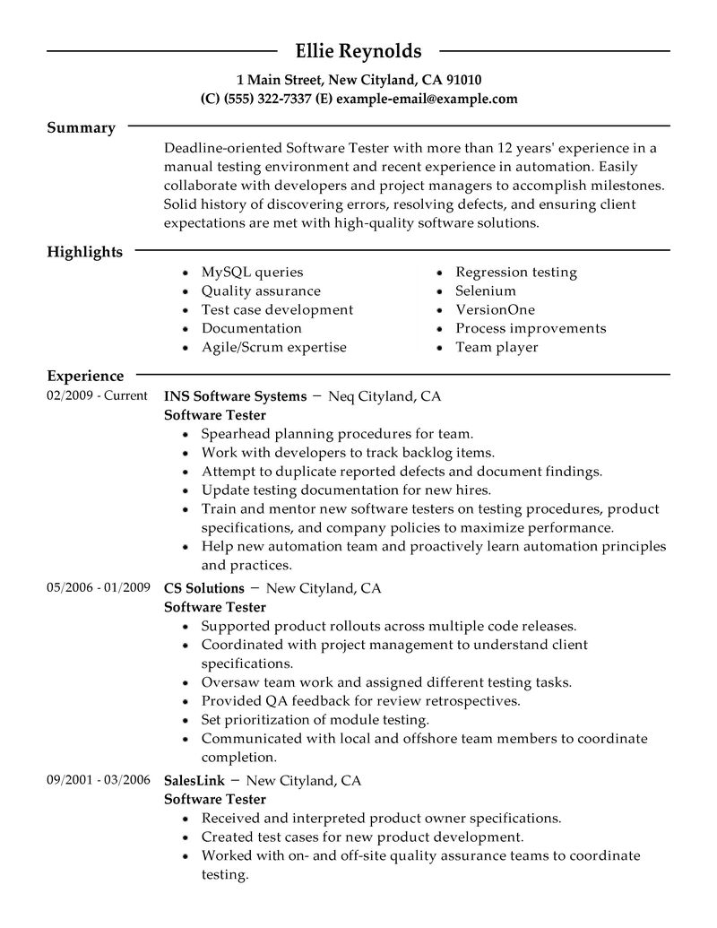 Test Resume Objective Software Test Engineer Resume Testing