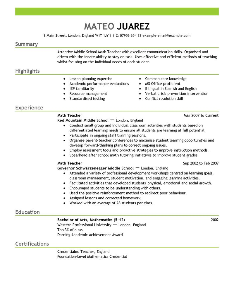 teachers resume format sample resume format for teachers resumes