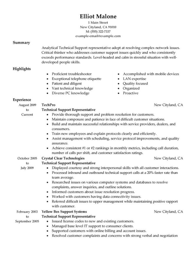 tech support resume resume sample