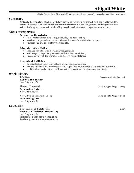 resume with internship