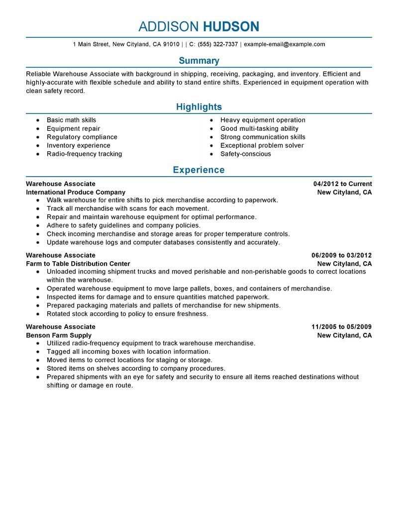 resumes for warehouse work warehouse resume and logistics writing