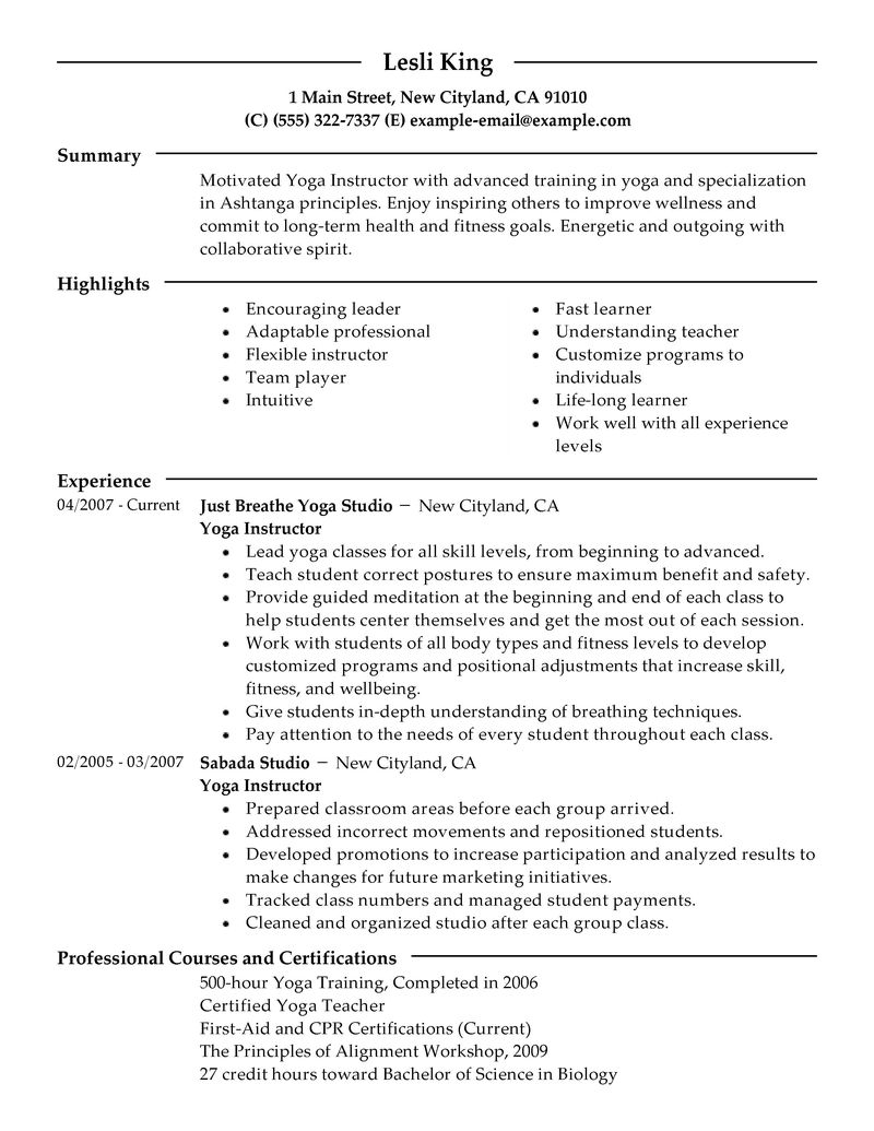 Resume For Yoga Teachers example wellness sample livecareer