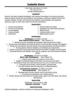 best bookkeeper resume example livecareer