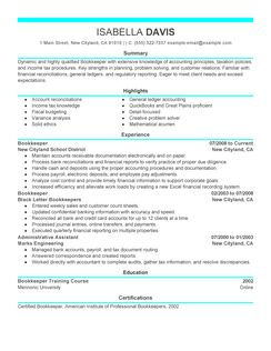 more bookkeeper resume examples chronological resume template