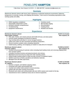 Labor Resume Example Production Sample Resumes Livecareer Pictures
