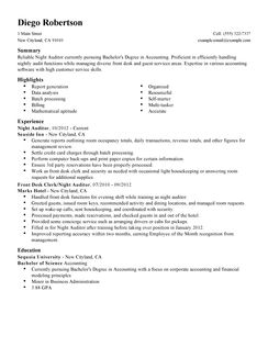 sample hotel night auditor resume leading professional night