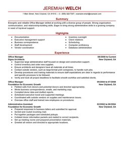 office manager cv sample casaquadro com