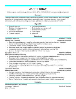 operations manager resume example management sample resumes