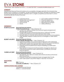 personal financial advisor resume example finance sample resumes