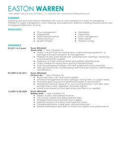 Sample Resume Hotel Housekeeping Room Attendant. sample ...