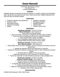 objective for warehouse resume warehouse associate objective