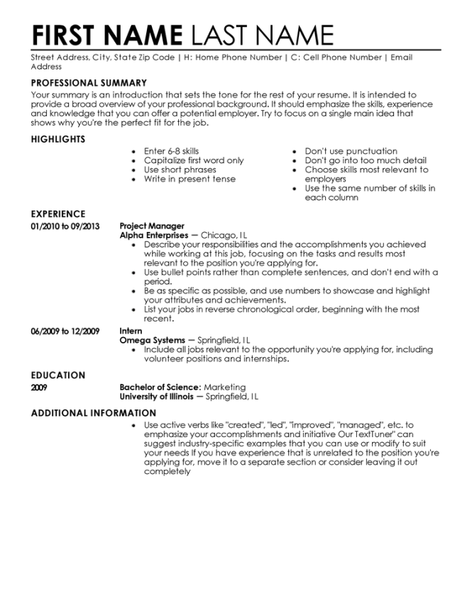 examples of a perfect resumes