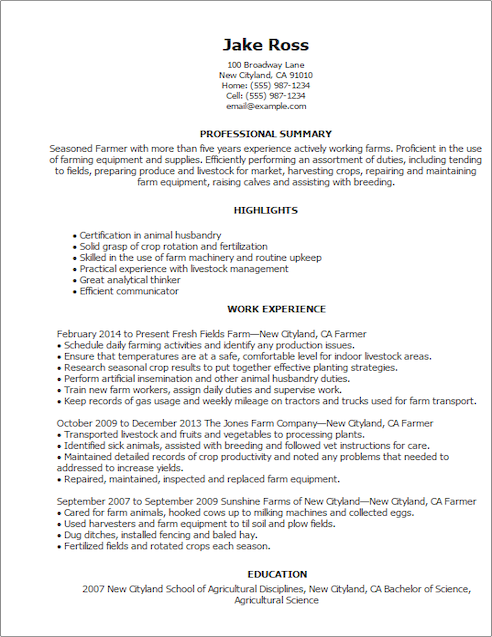resume templates agriculture amp environment