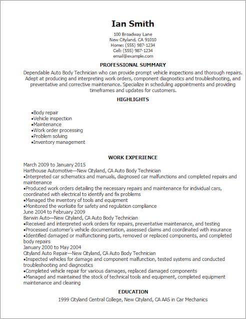 resume templates automotive