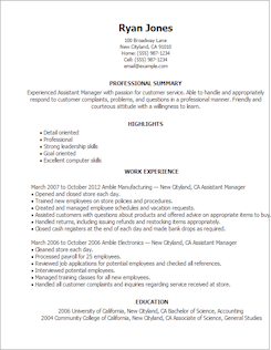 resume template assistant manager