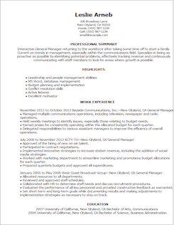 resume template general manager