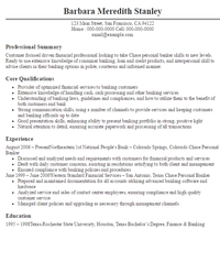 Personal banker on resume
