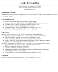 sample resume executive producer sample cv statements