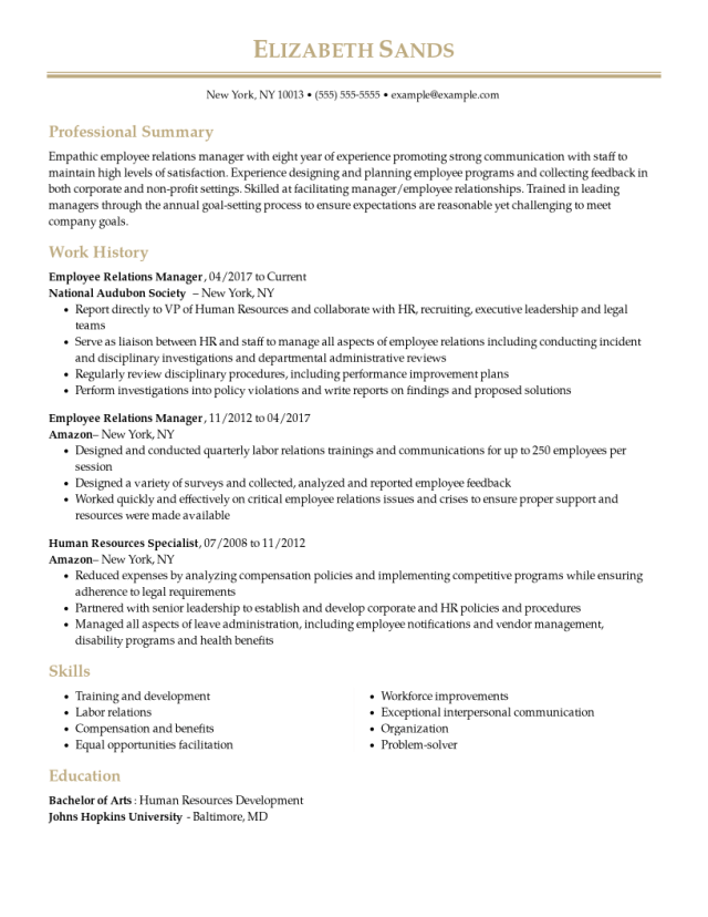 Employee Relations Manager Resume Examples  Human Resources