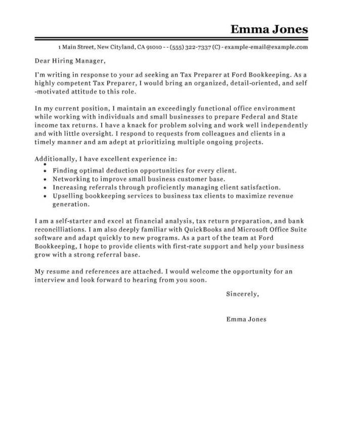 Create My Cover Letter Best Tax Preparer Examples
