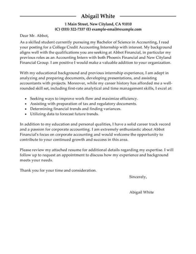 Professional Accounting Intern Cover Letter Examples  LiveCareer