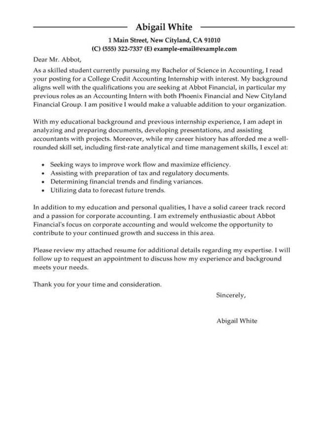 Sle Cover Letters Internship 16 Best Letter Sles For Wise