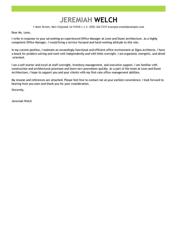 Cover Letter For Management