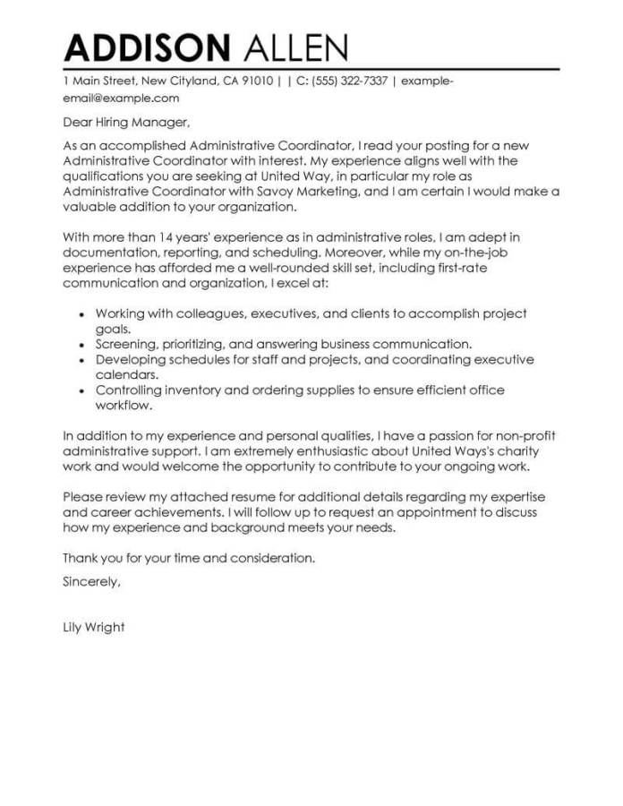 Administrative Coordinator Cover Letter Examples Livecareer