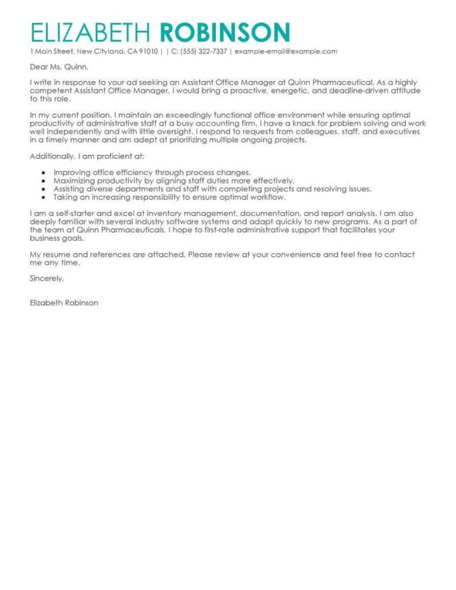 Cover Letter For Administrative Istant