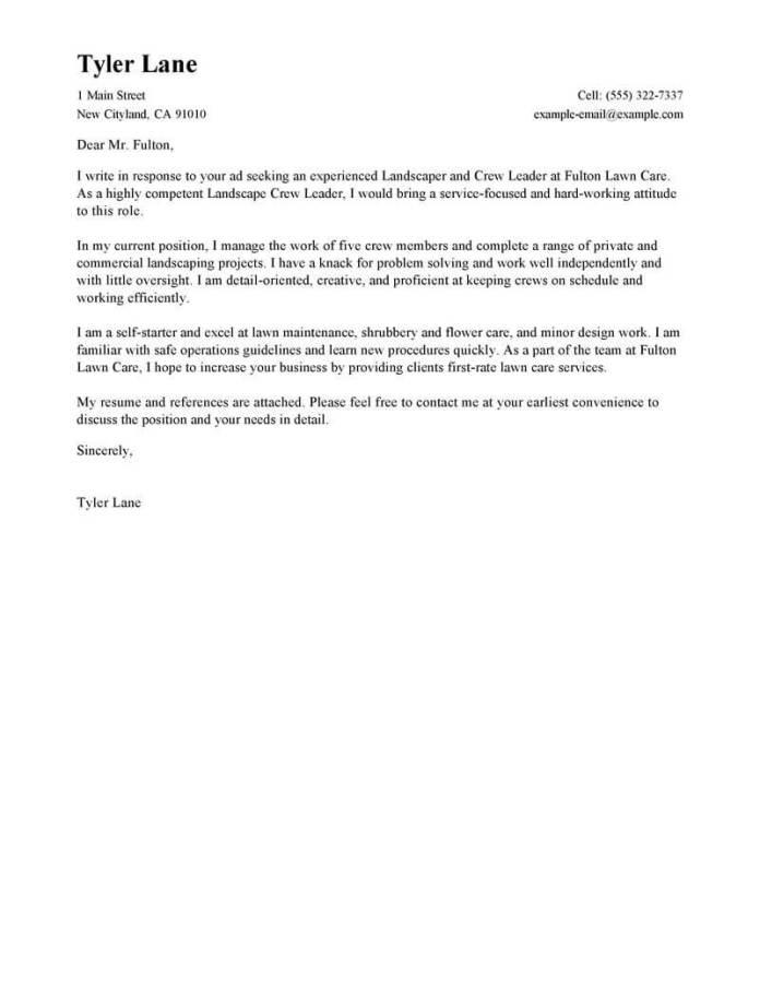Landscaper Cover Letter Examples Landscaping Livecareer