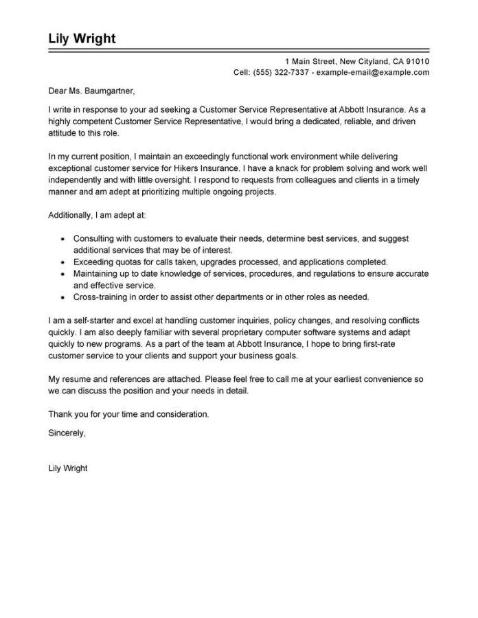Customer Service Representative Cover Letter Examples Livecareer