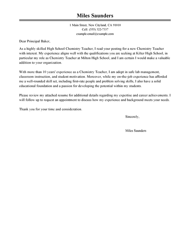 Outstanding Education Cover Letter Examples Livecareer