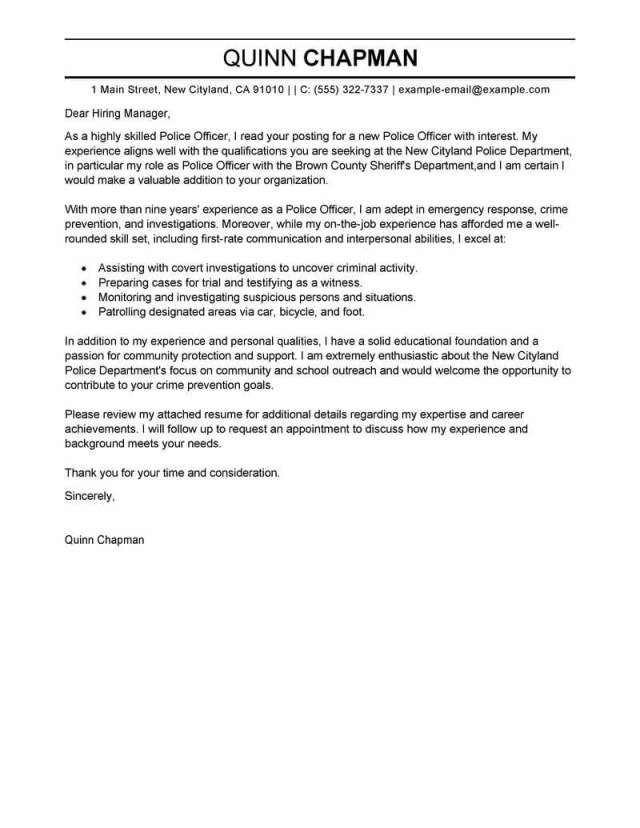 Professional Police Officer Cover Letter Examples  LiveCareer