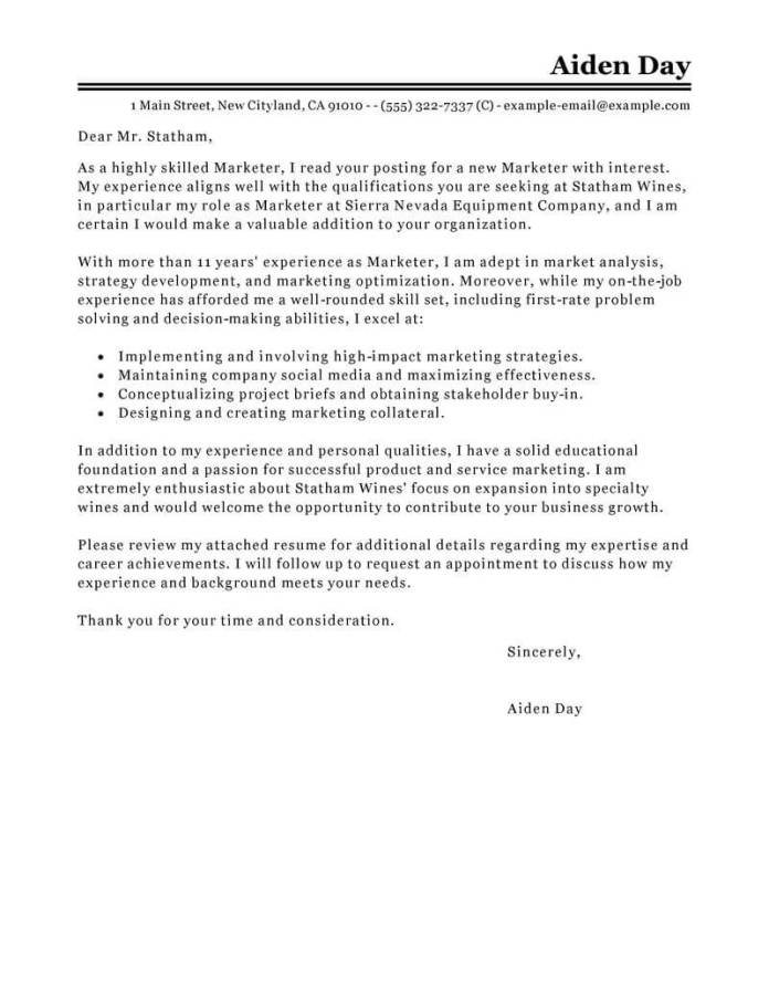 Outstanding Marketing Cover Letter Examples Livecareer