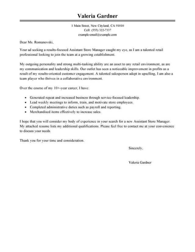 Retail Assistant Manager Cover Letter Examples  LiveCareer