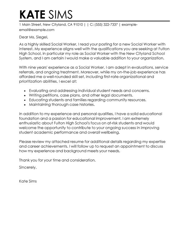 Professional Social Services Cover Letter Examples Livecareer