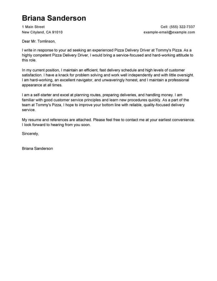 Professional Pizza Delivery Driver Cover Letter Examples Livecareer