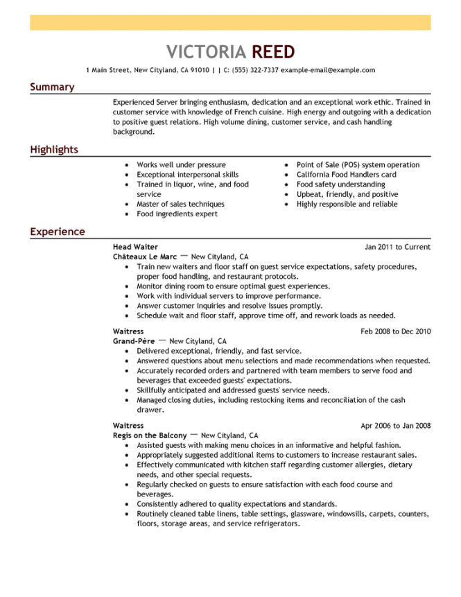 Example of work resume resume sample free resume examples by industry job le livecareer yelopaper Gallery