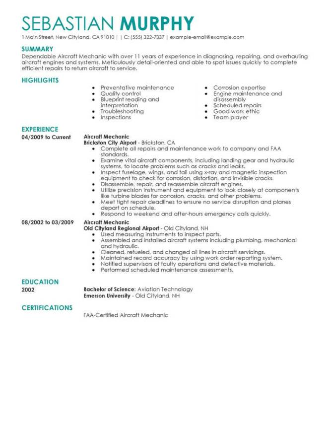 best aircraft mechanic resume example livecareer - Mechanic Resume Template