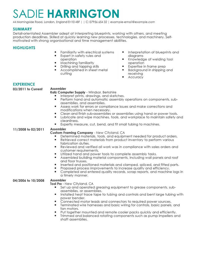 Professional Assembler Resume Examples Production Livecareer