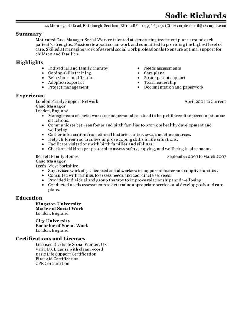 Best Case Manager Resume Example Livecareer  Case Manager Resume Samples