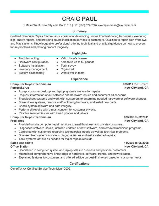 best computer repair technician resume example livecareer - Pc Repair Sample Resume