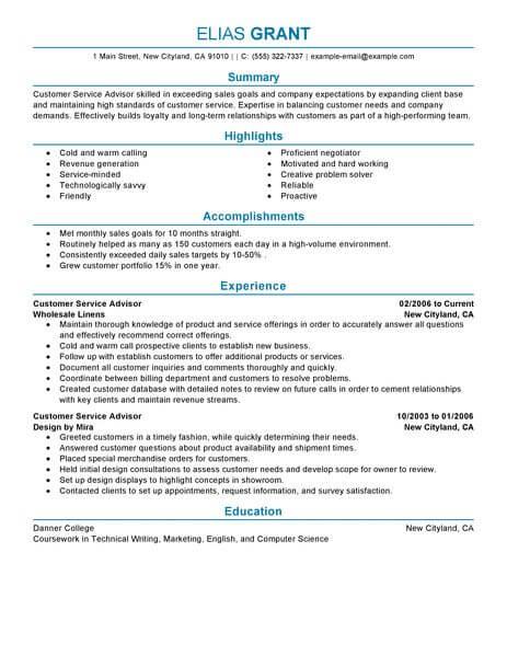 best s customer service advisor resume example livecareer - Cv Resume Writing Examples