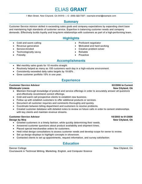 Best S Customer Service Advisor Resume Example Livecareer  Academic Advisor Resume Sample