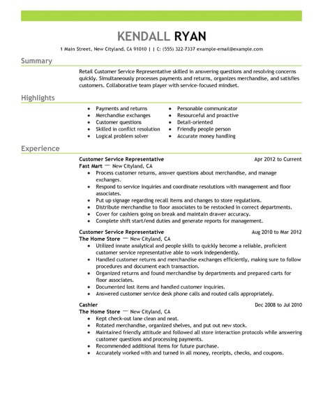 best retail customer service representative resume example - Sample Of Customer Service Representative Resume