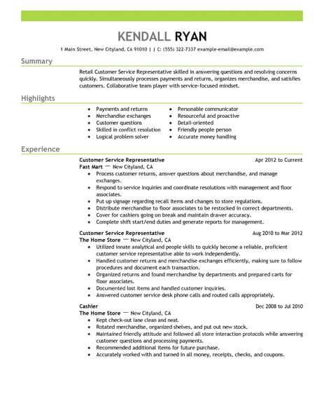Best Retail Customer Service Representative Resume Example   Sample Resume  For Customer Service Representative In Retail  Retail Sales Representative Resume